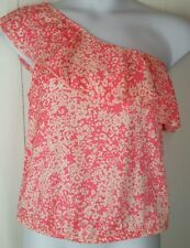 New American Eagle pink white floral print one shoulder ruffle shirt top size L