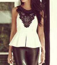 BNWT Lipsy Michelle Keegan Party Peplum Faux Leather Lace Size 10 Top Blouse