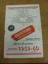 10/10/1959 Brentford v Tranmere Rovers  (Crease, Fold, Rusty Staples/Marks, Scor