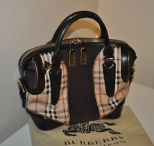 $1,895 BURBERRY Haymarket Check Black Leather &Suede Plum Panel Satchel Tote Bag
