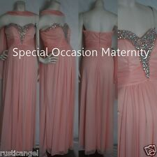 New Long Blush Strapless Jewel Chiffon Sweetheart Maternity Dress Gown MEDIUM
