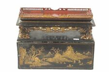 Antique Chinese Wooden Red Gilt Altar Box / Stand Shrine w Black Lacquer, 19th c