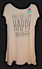 Justice Girls Shirt Tunic Top Longer Length HAPPY Off White Black Size 16 NEW