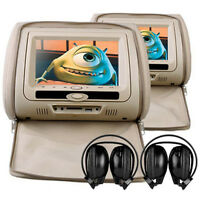 "Universal 7"" BEIGE Leather-Style Car DVD Headrests with HD/SD/USB Audi Q3/Q5/Q7"