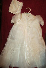 Vintage Madonna 4 piece embroidered Baby Christening Gown Dress, Coat + Bonnet