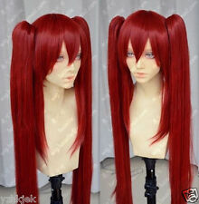HOT Sell!!! Fairy Tail Scarlet Red Cosplay Wig + Two Clip on Ponytail
