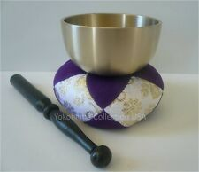 "Japanese Meditation Buddhist Butsudan Handmade 2.75"" Brass Bowl Singing Bell Set"
