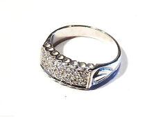 Bijou argent 925 bague anneau ciselé serti de zirconiums taille 54  ring