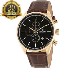 New Vincero Gold Chronograph Genuine Leather Strap 12 Hour Dial Men's Watch Gift