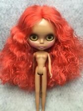 "12"" Nude Blythe Doll From Factory Long Wavy Orange Hair Tan Skin Free Ship New"