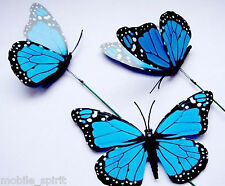 12x Colorful 3D Artificial Butterflies with Iron Wire Wedding Floral Butterflies