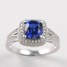Women's Halo Blue Sapphire 925 Sterling Silver Wedding Band Gemstone Ring Sz 10