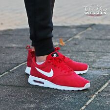 NEW MENS NIKE AIR MAX TAVAS LEATHER TRAINERS UK SIZE 9.5 RED WHITE 802611 601