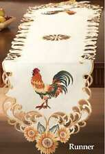 Country Charm RED ROOSTER & SUNFLOWER LACY EMBROIDERED TABLE RUNNER Stunning
