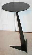 Vintage Black Futuristic Metal Side Table. Space Age Modern Round Top. RARE