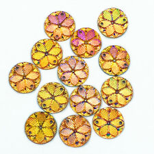 New 50pcs Resin Round Flower 15mm FlatBack For DIY Craft Yellow Sew on 2 Hole #3