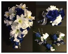 Blue White Lily Silk Rose Flower Wedding Bridal Bouquet Cascade Package 21pc