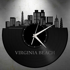 Virginia Beach Clock, Coastal Wall Decor, City Skyline Art, Gift For Best Friend