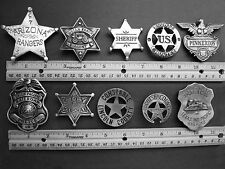 10 ASSORTED BADGES  (WILD WEST BADGES OF THE OLD WEST) FREE SHIPPING