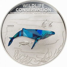 Cook 2013 Humpback Whale 5 Dollars Prism Colour Silver Coin,Proof