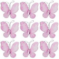 50pcs Wedding Card Wired Mesh Stocking Glitter Butterfly Craft Sewing DIY Pink