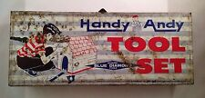 Antique Vintage Handy Andy Metal Toy Tool Set Box Skil Craft Playthings Collect