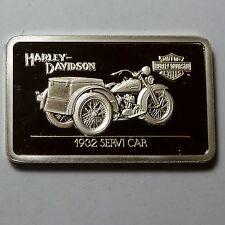 1.4 oz .999 silver bar 1932 SERVI CAR Harley Davidson with COA, great gift