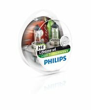 Philips Lifetime (x4) H4 Headlight Bulbs 12V 60/55W (Pair)