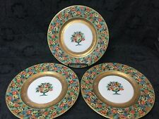 Set of 3 Black Knight Hohenberg Bavaria Plates Gold Plated Elegant Poppy Flowers