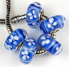 5pcs Cobalt White Large Hole Lampwork Glass Beads Fit European Charm Bracelet