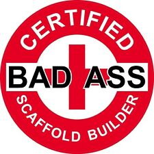 "3 – Red Certified Bad Ass Scaffold Builder 2"" Hard Hat / Helmet Stickers H737"