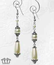 Victorian Style Bridal GLASS IVORY FAUX PEARL EARRINGS Antique Silver Cream Drop