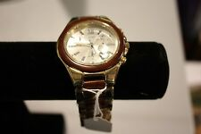 Makani Hawaii Mens Natural Rose Wood CZ Dial Yellow Gold Plate Watch (W9005GY1)