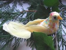 Artificial Yellow Bird - Vintage Floral Fabric with Feathers