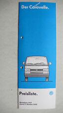 Prospekt / Preisliste Volkswagen VW Bus T4 Caravelle, 10.1990, 16 Seiten