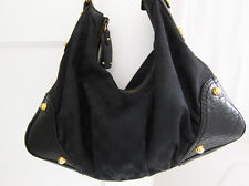 GUCCI Medium Black GG Canvas Leather Horsebit Jockey Hobo Handbag $895