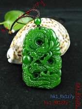 2016 Fashion Natural Green Jade Dragon Necklace Pendant Lucky Amulet Hot