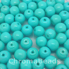8mm Glass faux Pearls - Sky Blue Opaque (50 beads), jewellery making