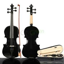 New Composite Wood 3/4 Black Acoustic Violin with Case Bow Rosin