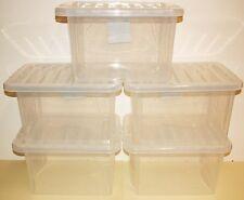 5x Boites de stockage en plastique medium 24 litre prendre A4 papier,transparent