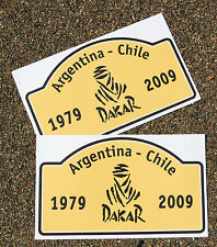 4x4 DAKAR 1979-2009 Rally Plate style pair of Stickers ideal for Land Rover etc