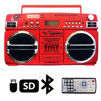 Lasonic i-931BTQ Red Portable Blaster Boom Box Stereo Bluetooth/USB/SD/AUX/AM/FM