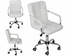 White Modern Office Leather Chair Hydraulic Swivel Executive Computer Desk NEW