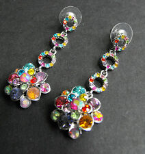 Colorful Sparkling Rhinestone Flower Dangle Pierced Earrings **MM**