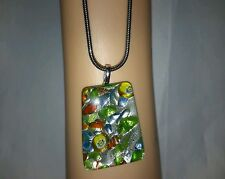 Vintage retro acrylic foil green yellow blue red lemon snake chain necklace