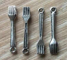 4x Fork Rockabily Silver Coloured Craft Charms