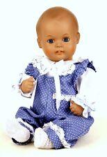 Schildkröt Puppenkleidung für 35 cm  Strampelchen, Romantikoverall in blau