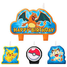 4 Piece Pokemon Pikachu & Friends Happy Birthday Cake Decoration Party Candles