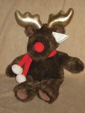 "Holiday Winter Christmas 15"" Cuddle Moose W/Scarf Plush Stuffed Toy #TY30"