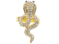 Lady Hissing Gold Tone Cobra Snake Jet Black Clear Crystal Rhinestone Ring